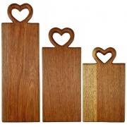 Trio de Tábuas p/Servir modelo Baguete Heart, em 3 tamanhos