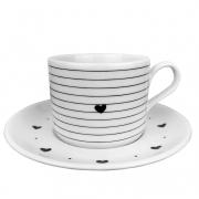 Jogo c/ 2 Xícaras de Chá 200ml c/ Pires em Porcelana Coleção Exclusiva Black & White