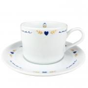 Xícara de Chá 200ml c/pires em porcelana, coleção exclusiva Poções de Amor