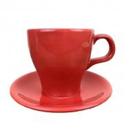 Xícara de Chá c/Pires, 280 ml, porcelana, Vermelha