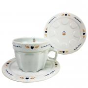 Xícara de Chá Canelada, 250ml c/ Pires, em Porcelana, Coleção Exclusiva Poções de Amor