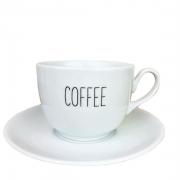 Xícara de Chá Coffee, 240ml c/pires em porcelana, coleção exclusiva Lettering