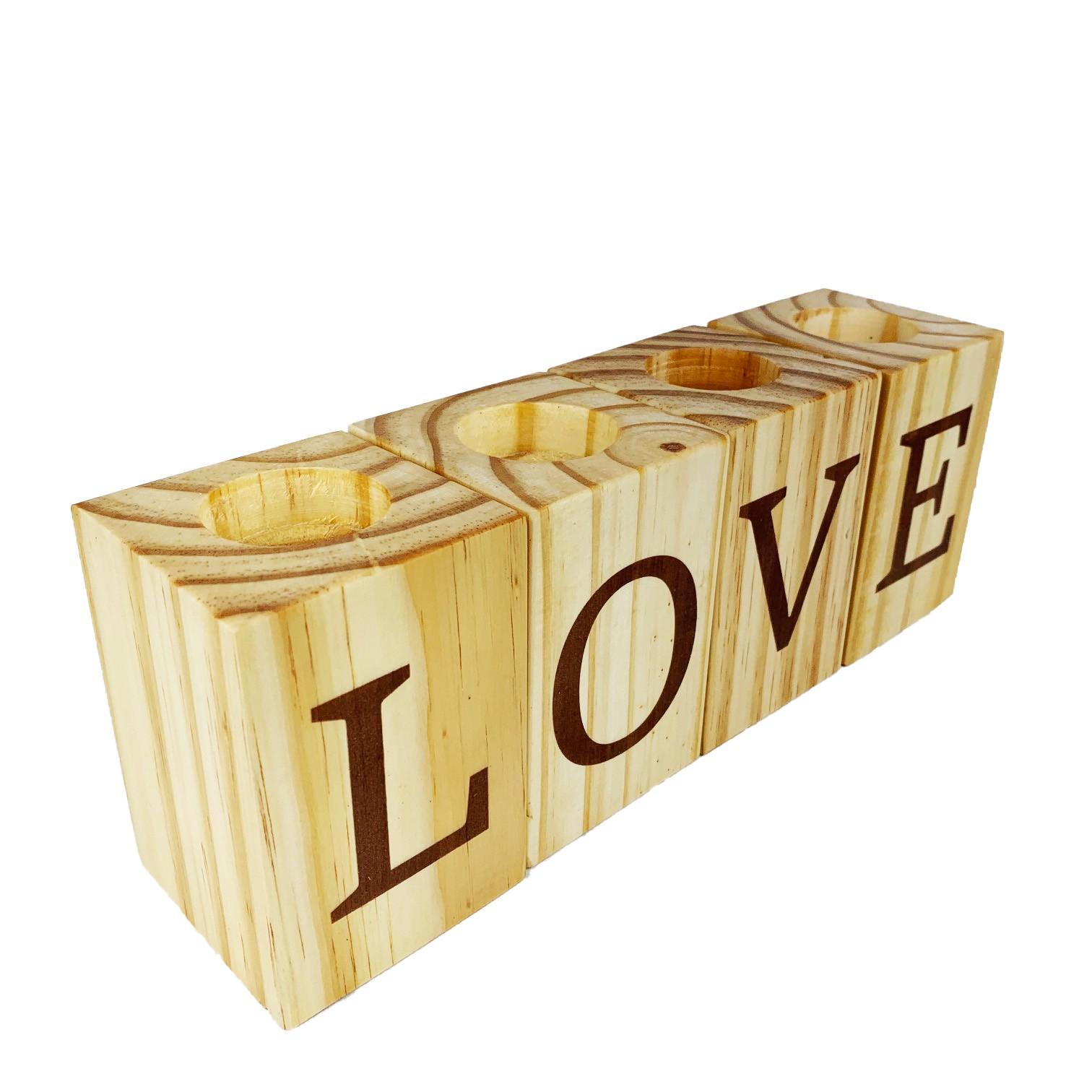 4 Bloquinhos Porta Velas Love