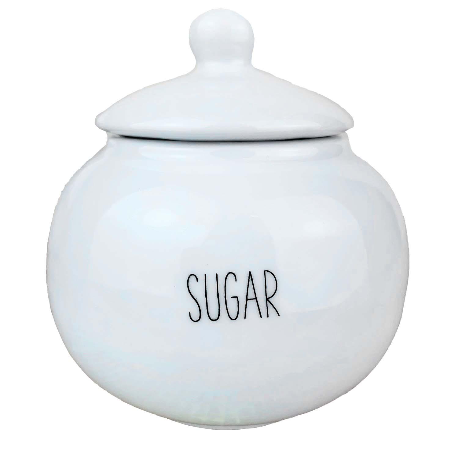 Açucareiro Ball Sugar 250g, em porcelana, coleção exclusiva Lettering