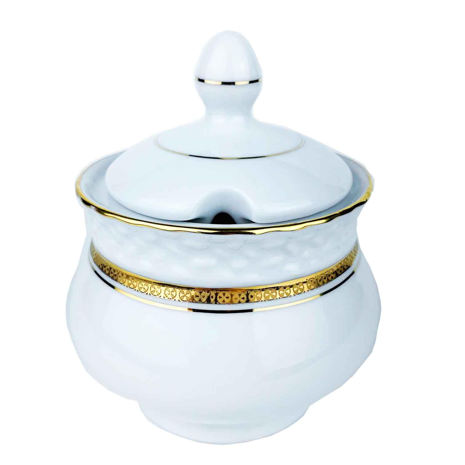 Açucareiro Queen Branco Porcelana c/Filetes Ouro