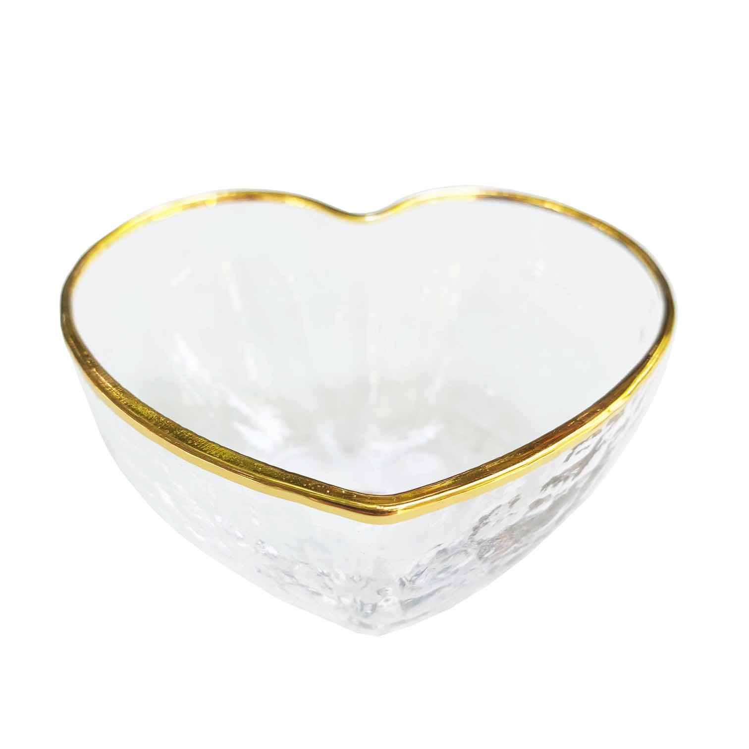 Bowl  Heart em vidro martelado, 100 ml, 9 cm com borda em fio de ouro