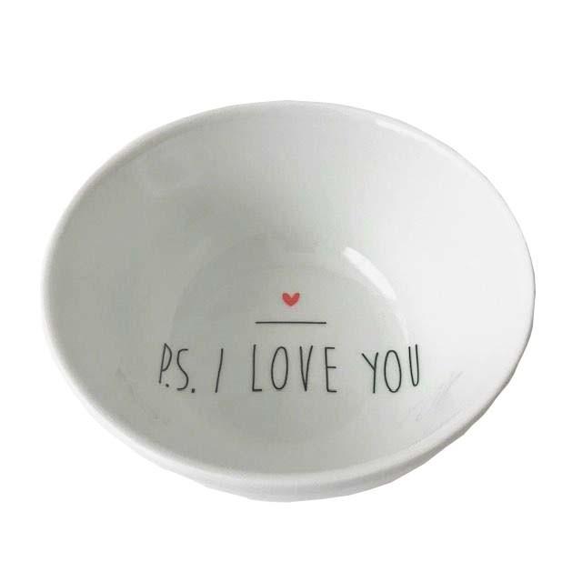 Bowl em porcelana, 500 ml c/Tampa Home de Madeira Teca, coleção exclusiva PS I love you