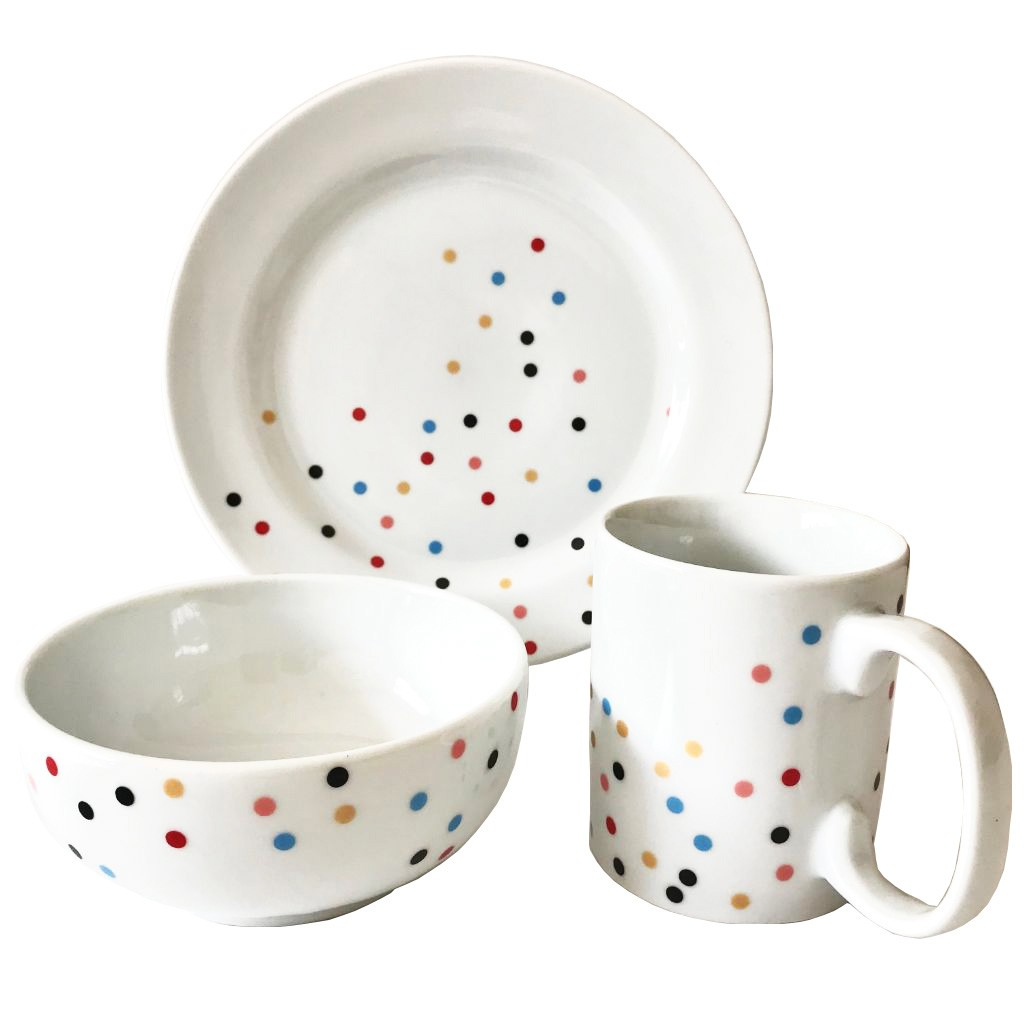 Box Café da Manhã Dots Colors c/ 3 peças