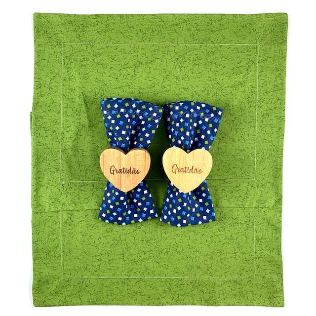 Box Gratidão Azul Royal c/ Verde  c/6 peças