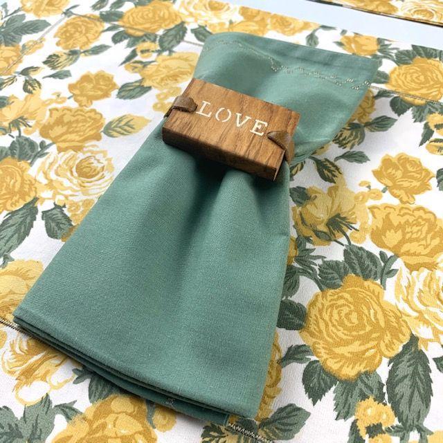 Box Mesa Posta Floral Verde  c/12 peças