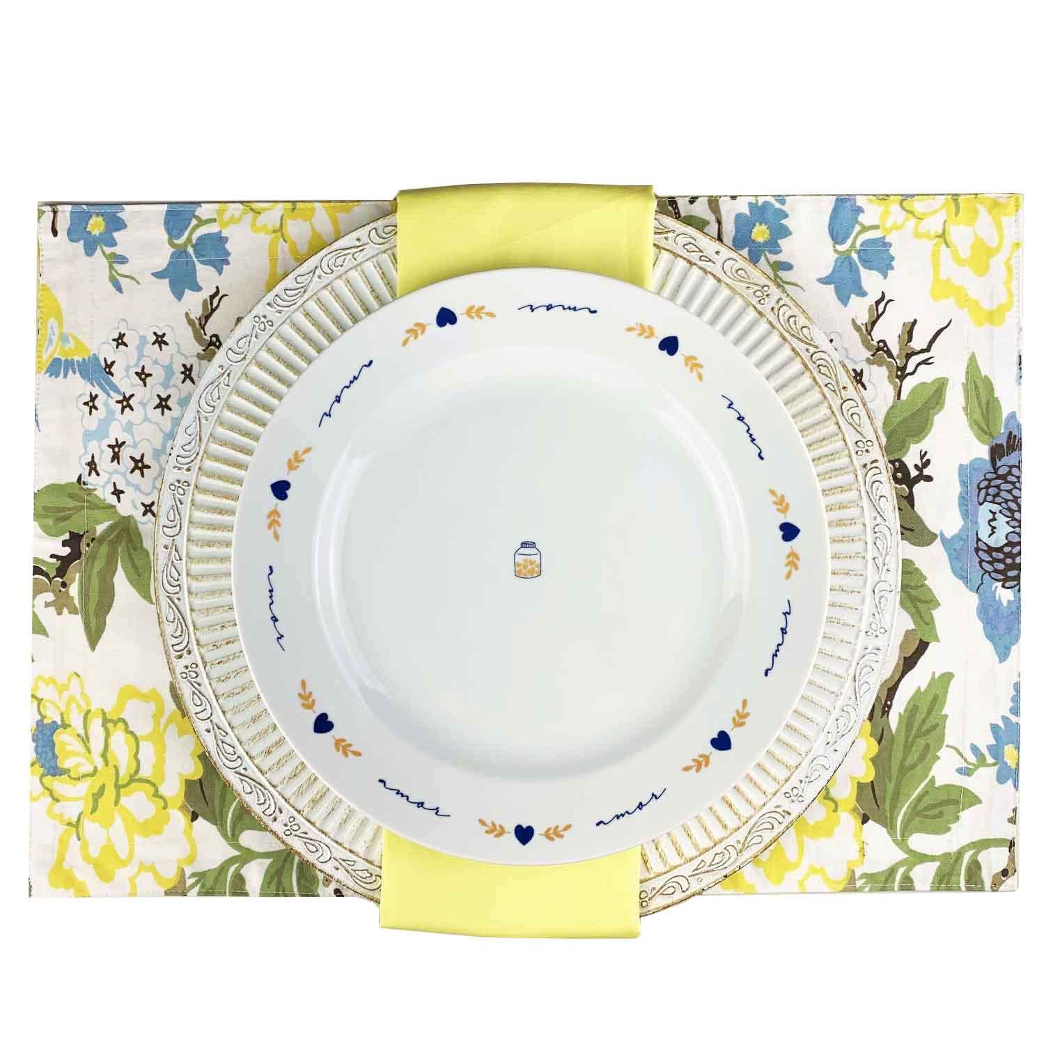 Box p/jantar ou almoço Yellow c/ 8 peças, louças em porcelana, coleção exclusiva Poções de Amor