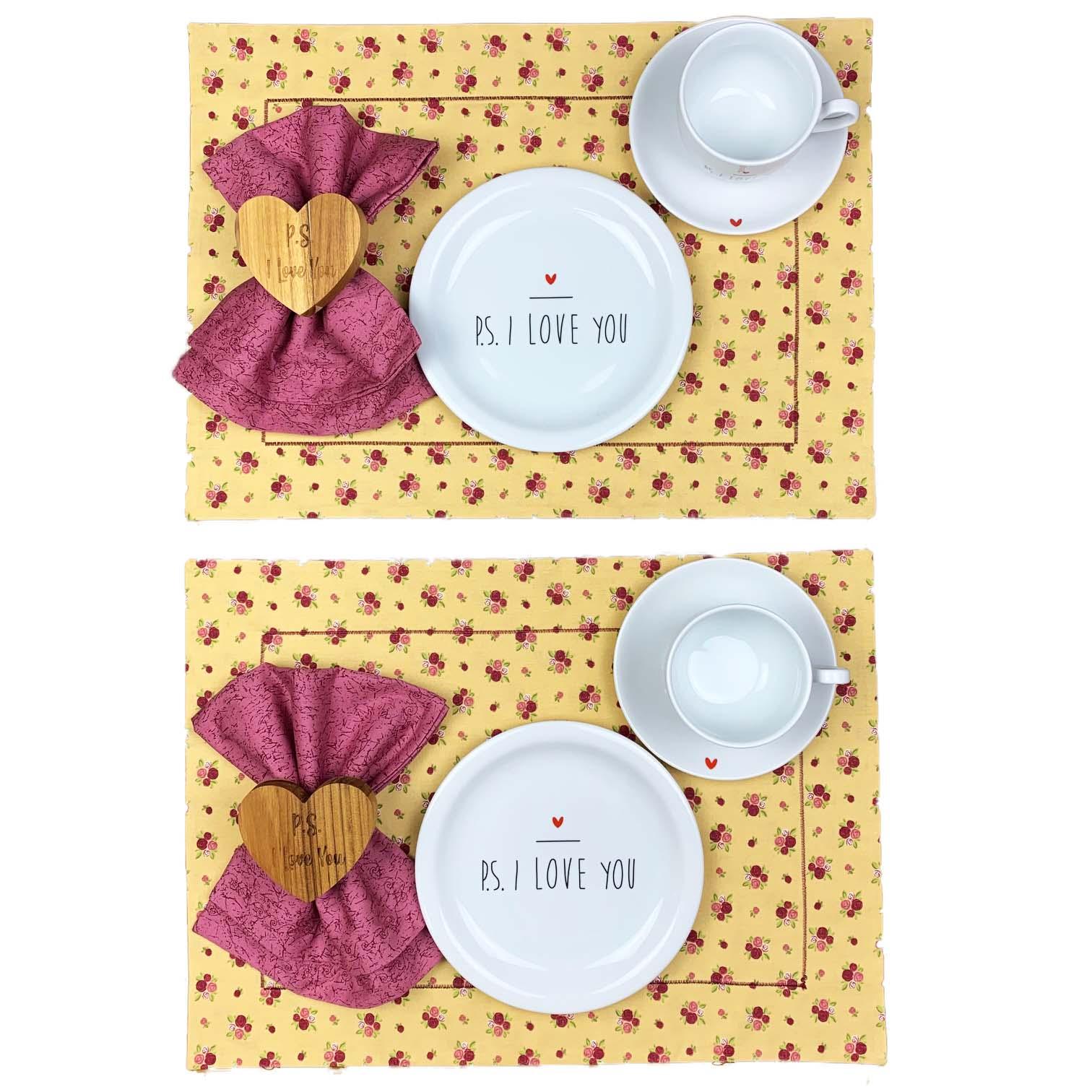 Box Mesa Posta PS I love you floral c/12 peças