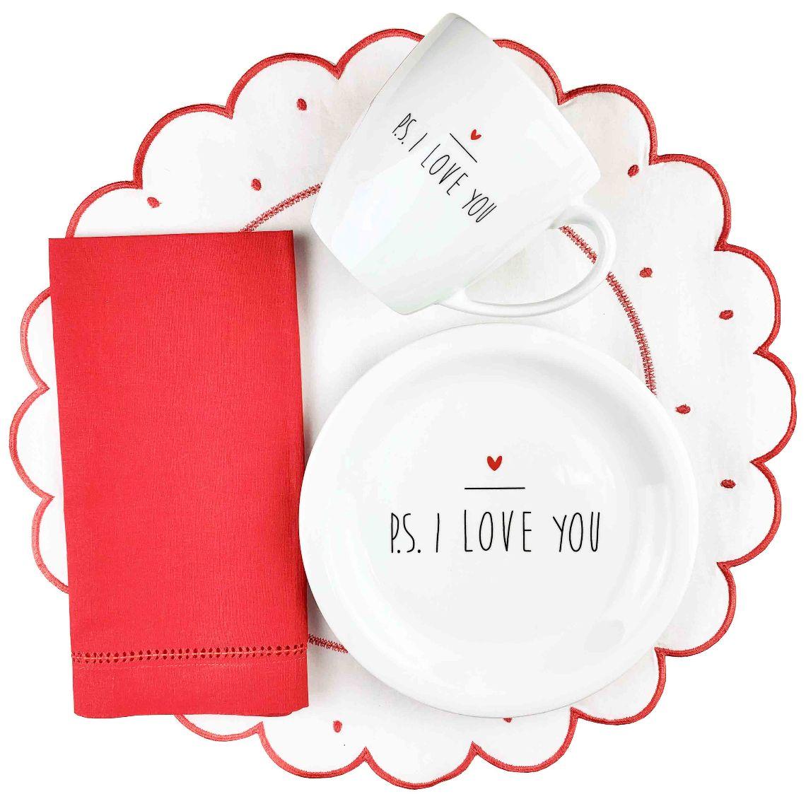 Box Café da Manhã PS I love you Red c/8 peças