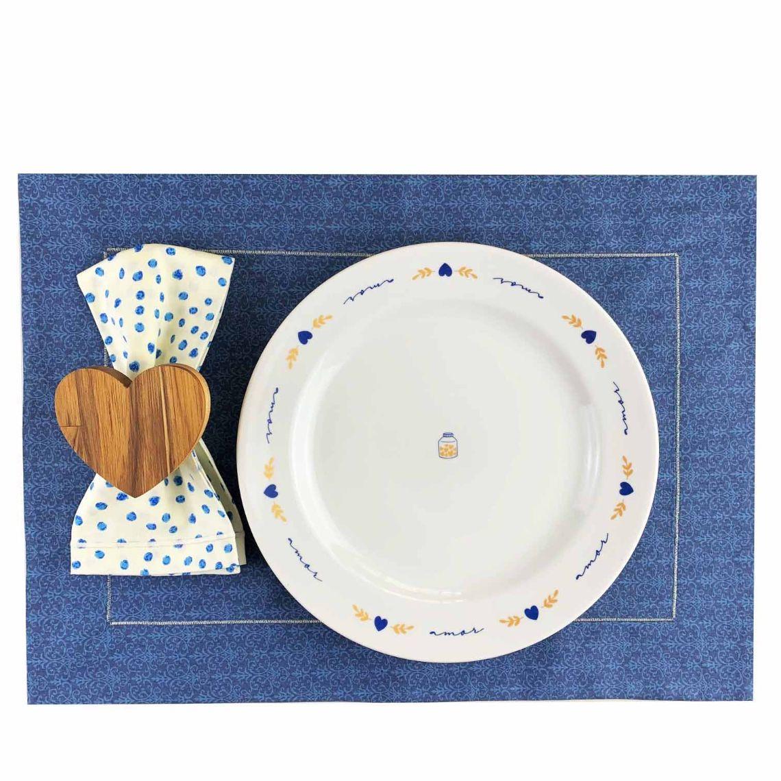 Box p/jantar ou almoço Azul poá c/ 8 peças, louças em porcelana, coleção exclusiva Poções de Amor
