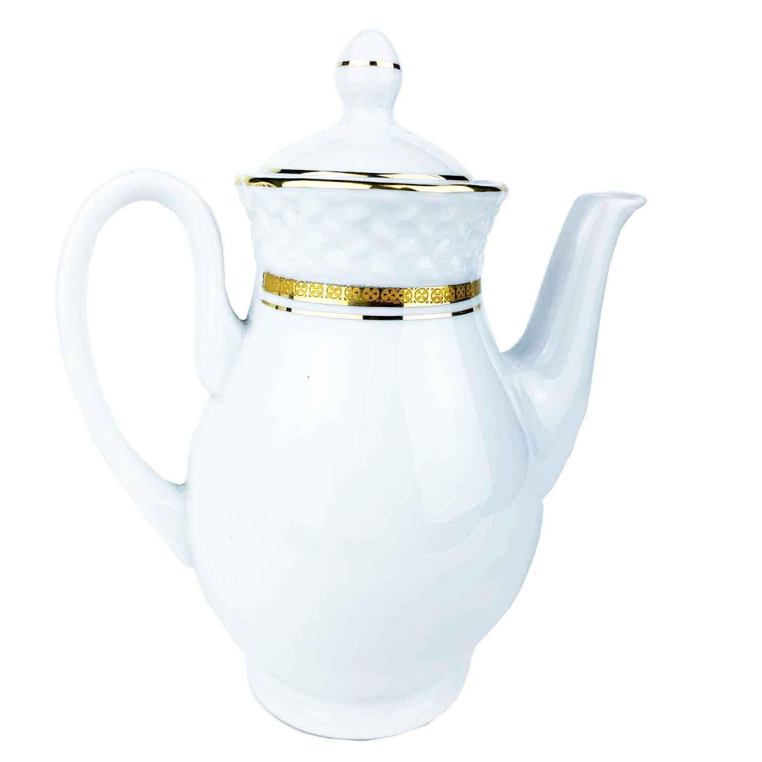 Bule Queen Branco Porcelana c/Filetes Ouro 550ml