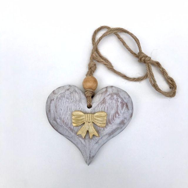 Coração Madeira patinado 10cm