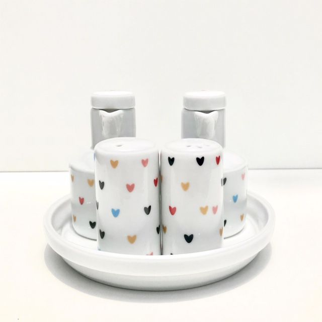 Galheteiro Para Mesa em porcelana com 5 peças Hearts Colors