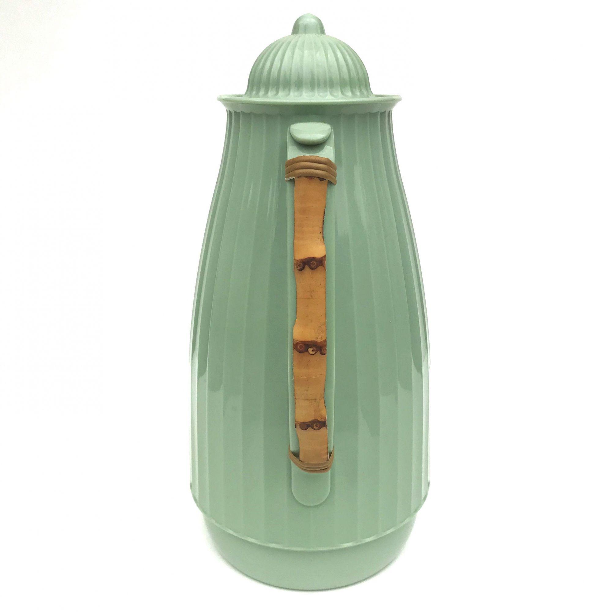 Garrafa Térmica Canelada Bambu - Verde Água