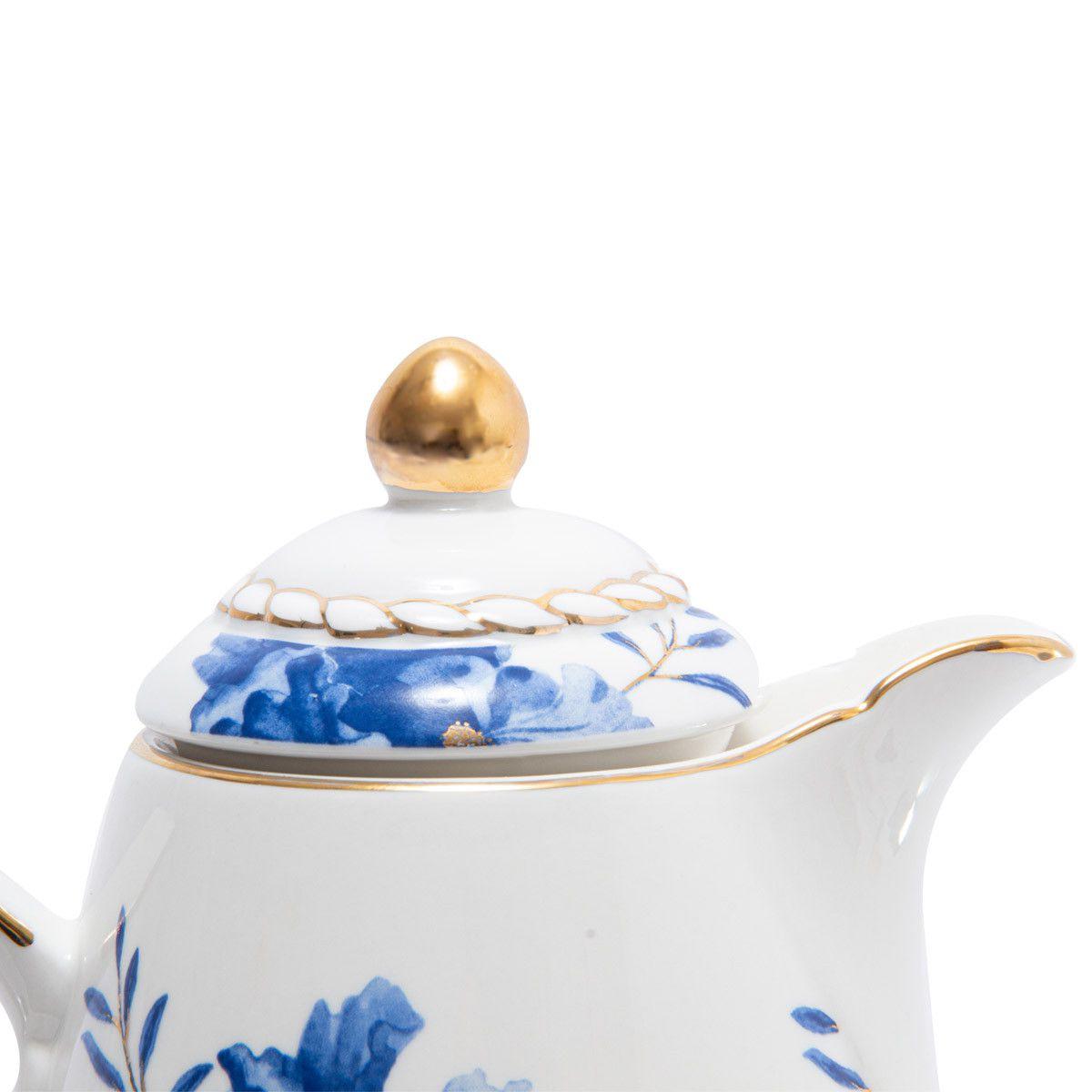 Garrafa Térmica Floral Azul com detalhes dourados
