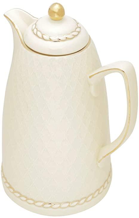 Garrafa Térmica Porcelana Off White c/Dourado Wolff
