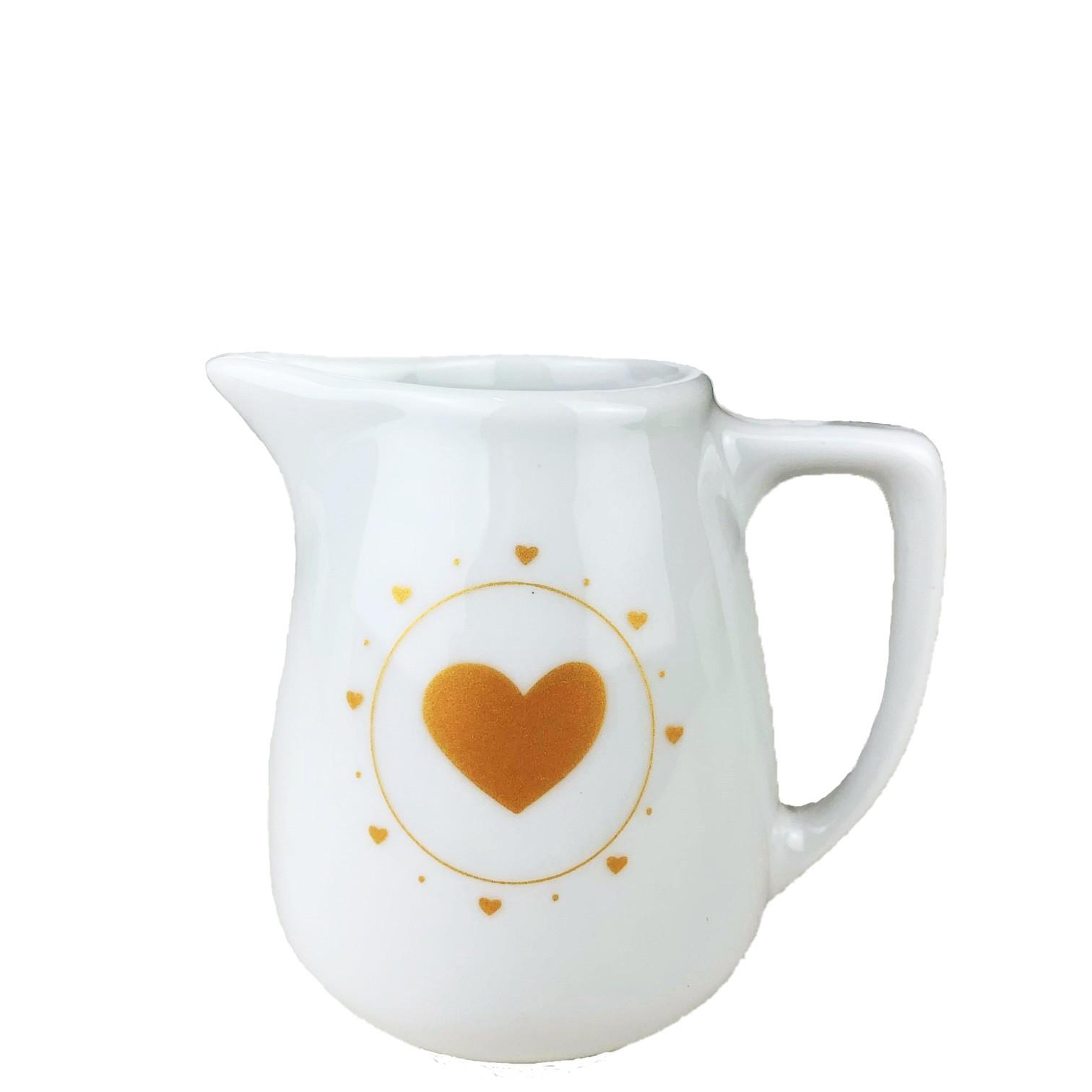 Jarrinha leiteira em porcelana, 170 ml, coleção exclusiva Golden Mary