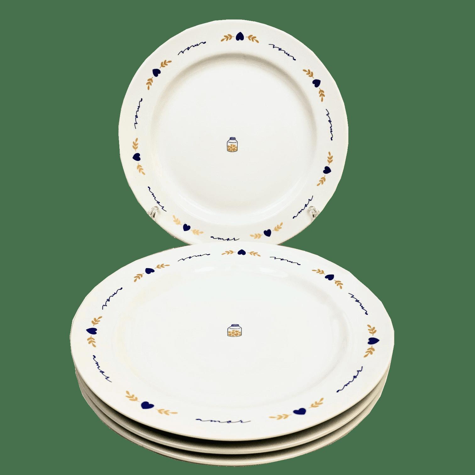 Jogo 4 Pratos Jantar Poções de Amor