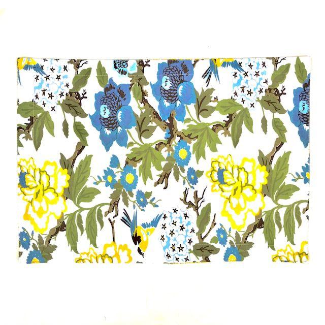 Jogo Americano 4 Lugares Dupla Face Floral Azul e Amarelo