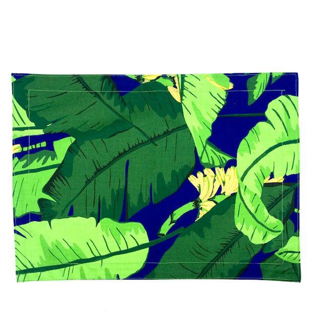Jogo Americano 4 Lugares Tropical Azul
