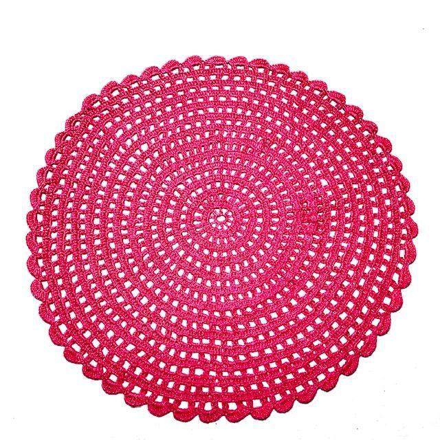 Jogo Americano Crochê Rosa Pink 4 lugares