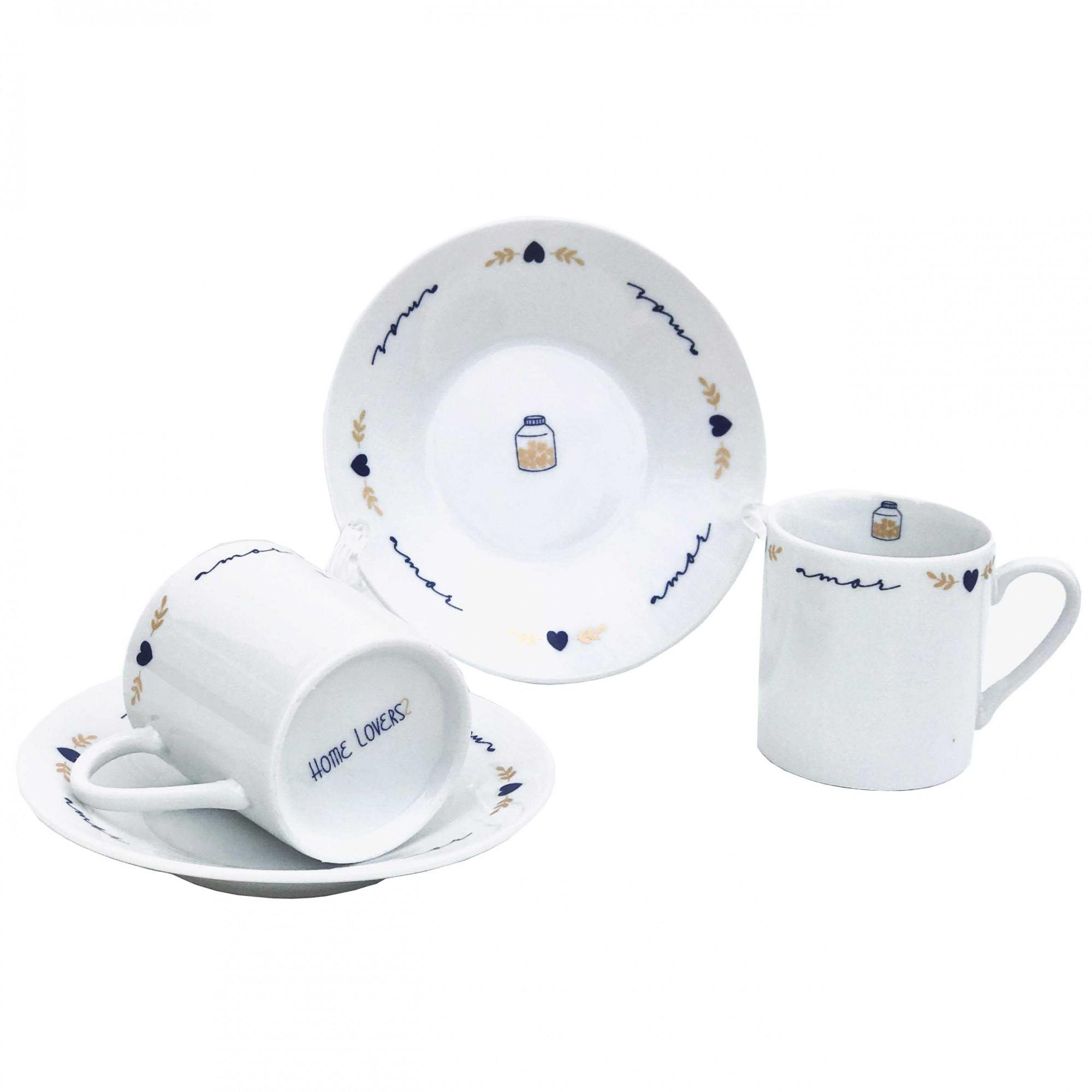 Jogo c/4 Xícaras p/Café com Pires, em porcelana, 80ml, coleção exclusiva Poções de Amor
