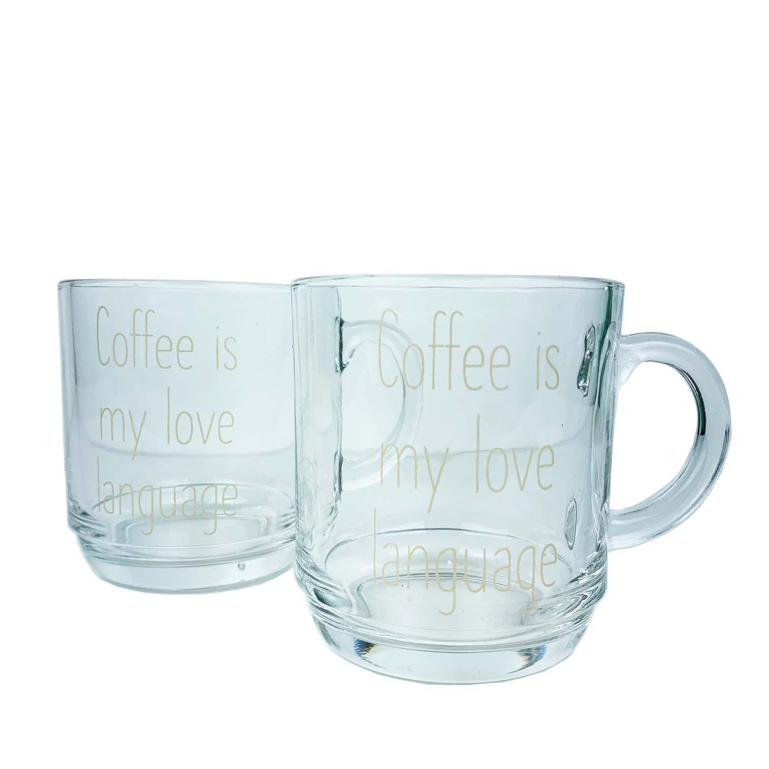Jogo c/2 Canecas Lettering Coffee Is My Love Language