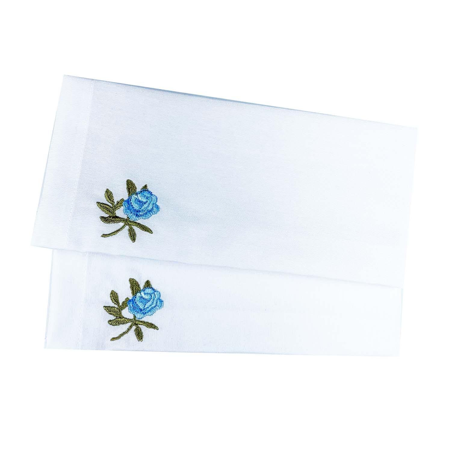 Jogo c/ 2 Guardanapos Branco Bordado Flor Azul