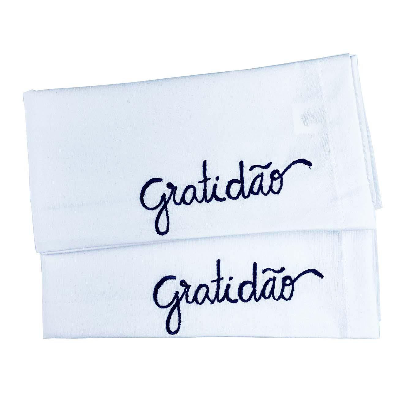 Jogo c/ 2 Guardanapos Branco Bordado Gratidão