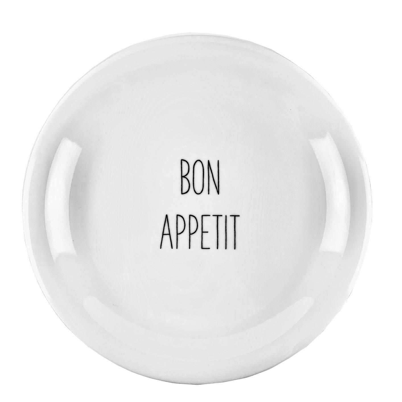 Jogo c/2 Pratos de Sobremesa Lettering Bon Appetit