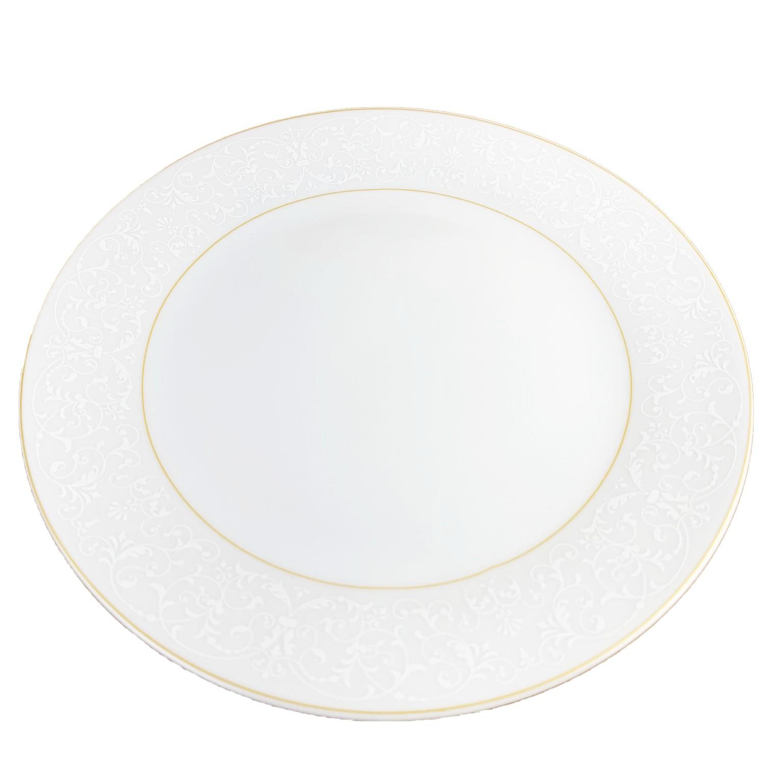 Jogo c/2 pratos para sobremesa Wolff c/filete dourado