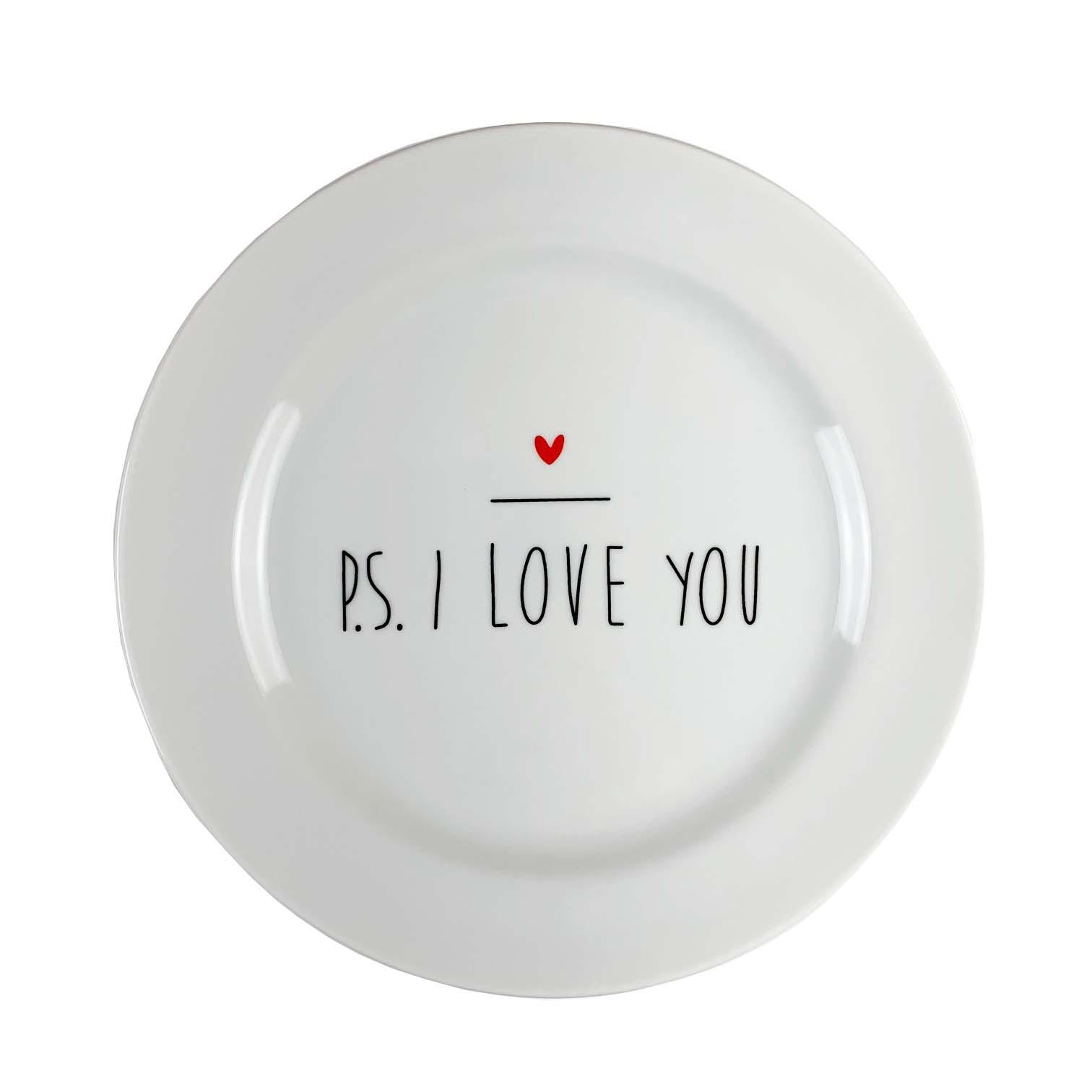 Jogo c/2 Pratos Sobremesa, em porcelana 20 cm diâmetro, coleção exclusiva PS I love you