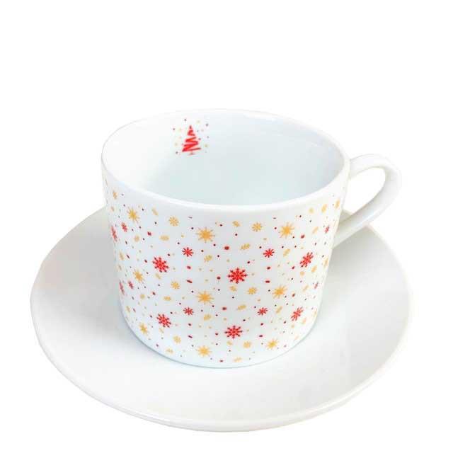 Jogo c/ 2 Xícaras de Chá Christmas Snow Flakes