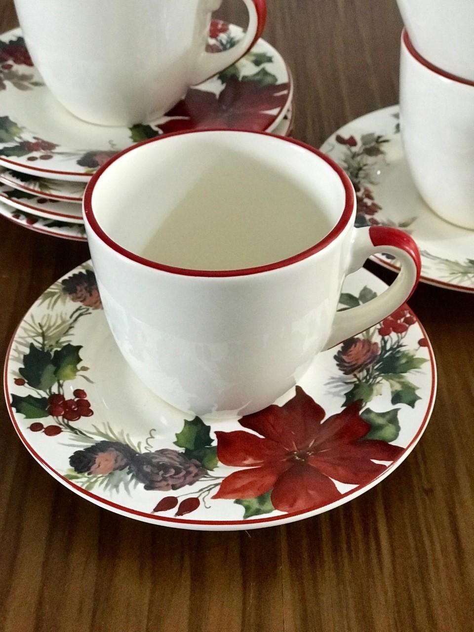 Jogo c/ 2 Xícaras de Chá Flor de Natal