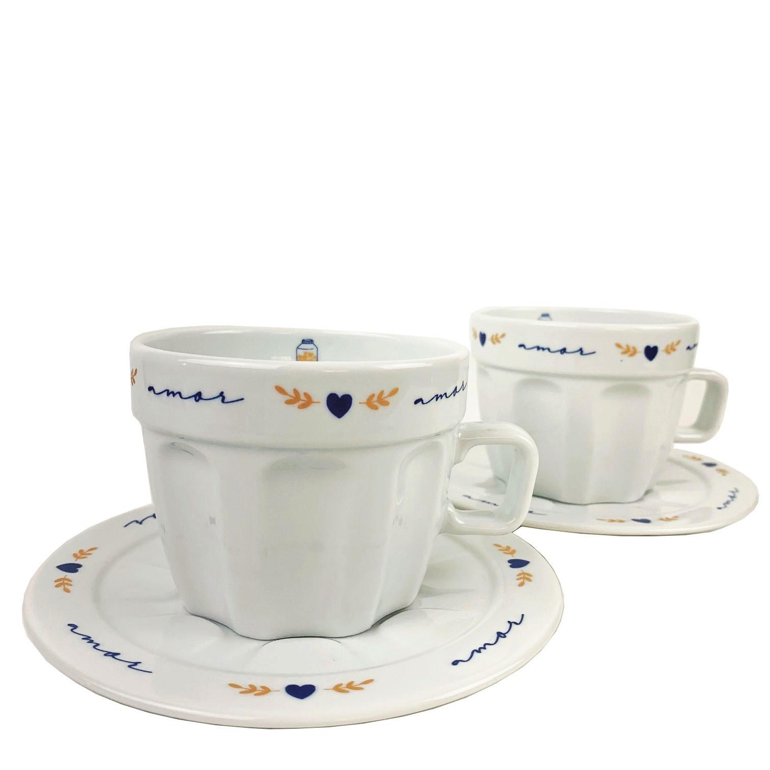 Jogo c/ 2 Xícaras de Chá Poções de Amor canelada