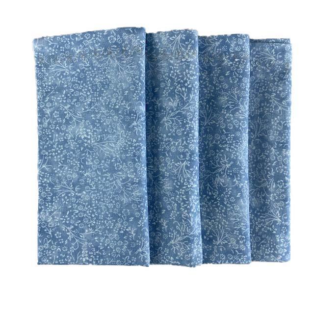 Jogo c/ 4 Guardanapos Azul Galhos/Flores Brancas duplos