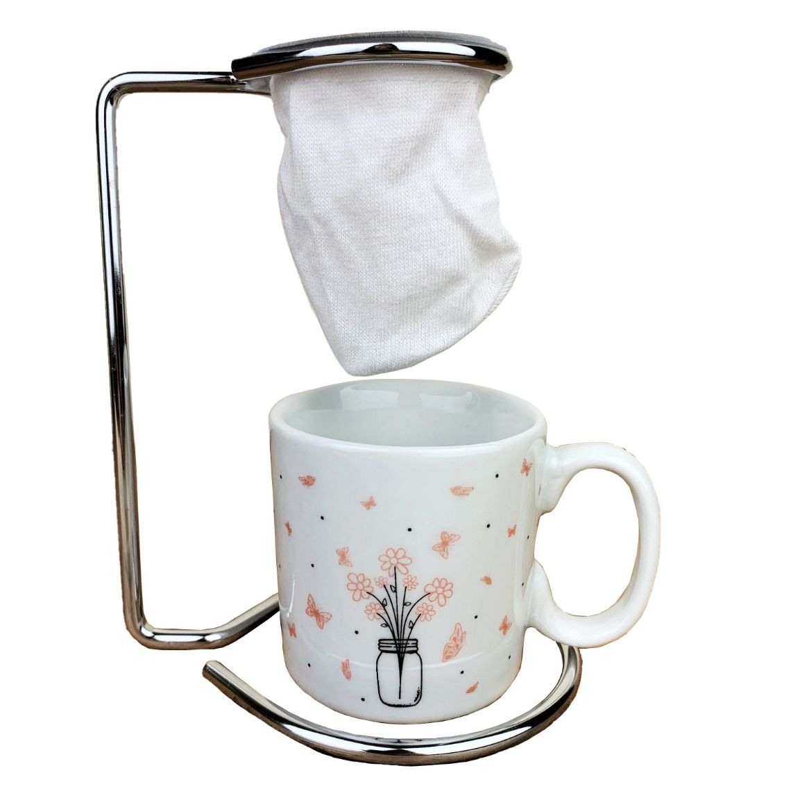 Jogo Coffee Break c/ 3 peças (suporte, coador e xícara de porcelana) coleção exclusiva Garden, 100ml
