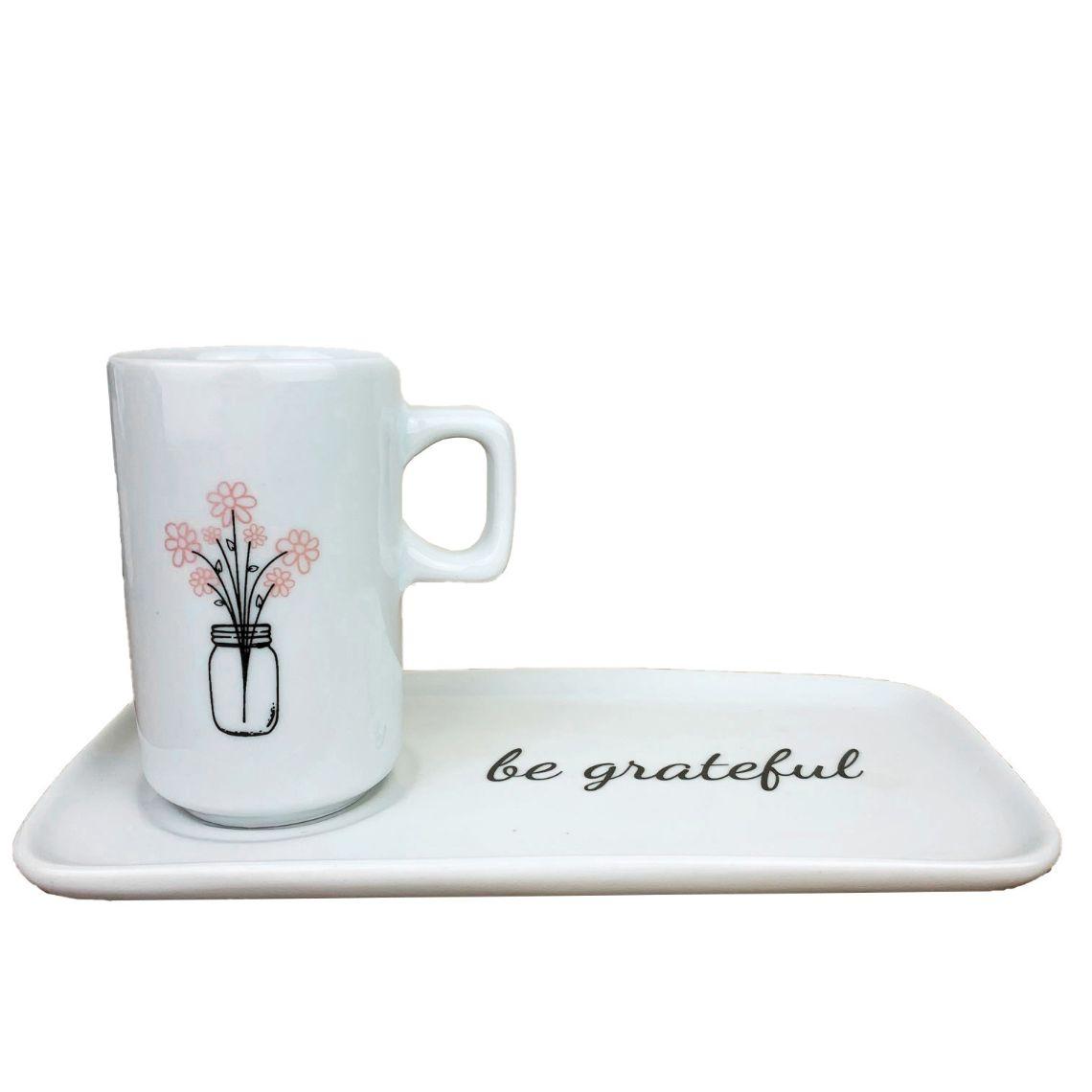 Jogo Coffee Break c/3 peças (xícara e pires em porcelana e colher aço inox) coleção exclusiva Garden