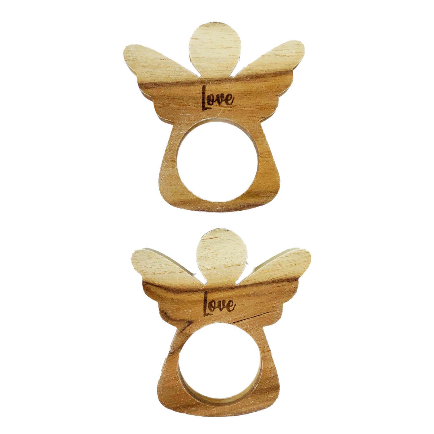 Jogo com 2 Argolas Christmas Angel Love madeira