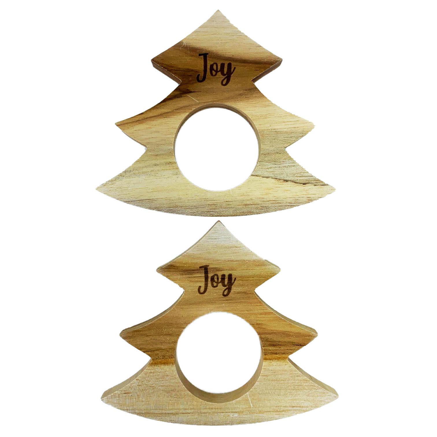 Jogo com 2 Argolas Christmas Tree  Joy madeira