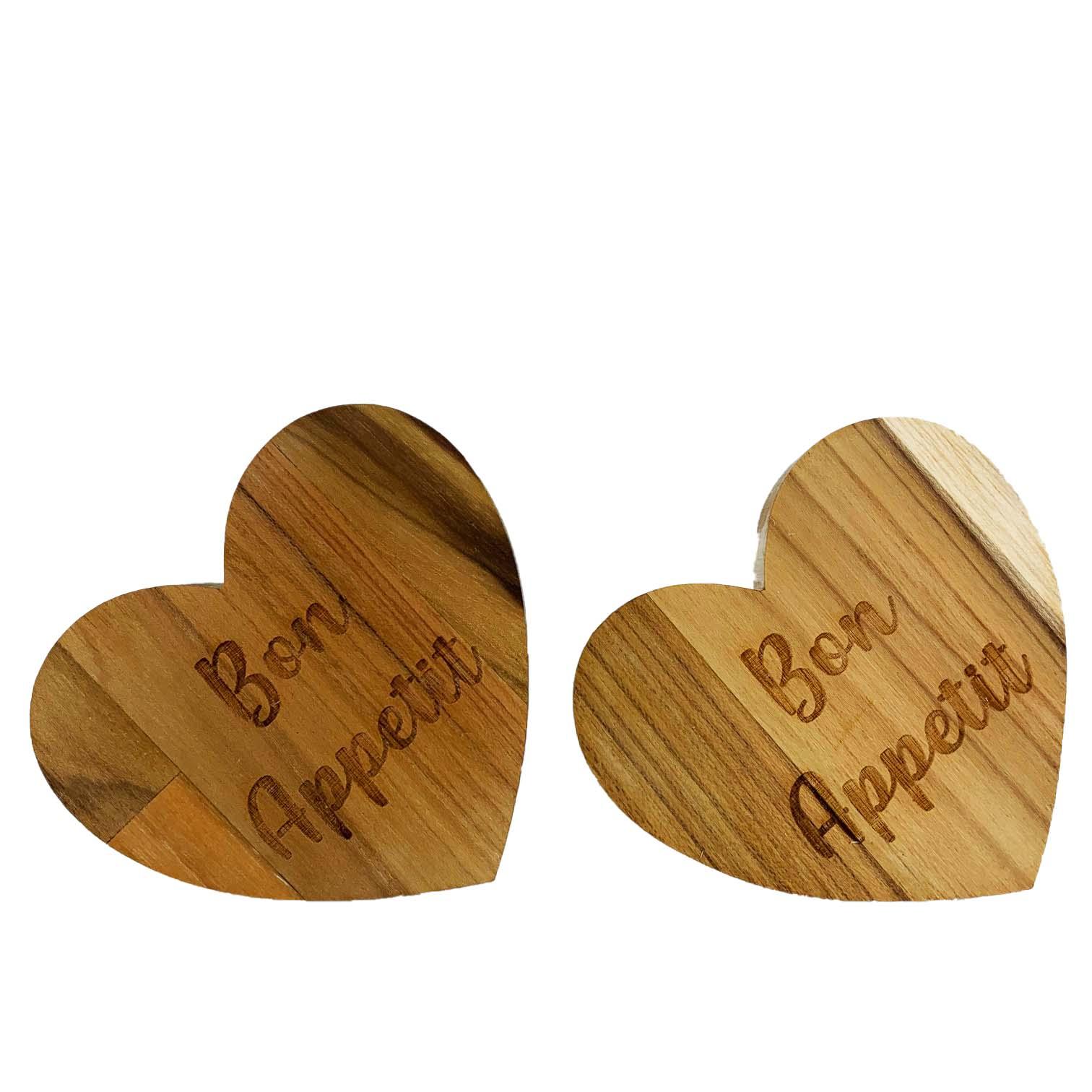 Jogo com 2 Argolas em madeira escrita Bon Appetit