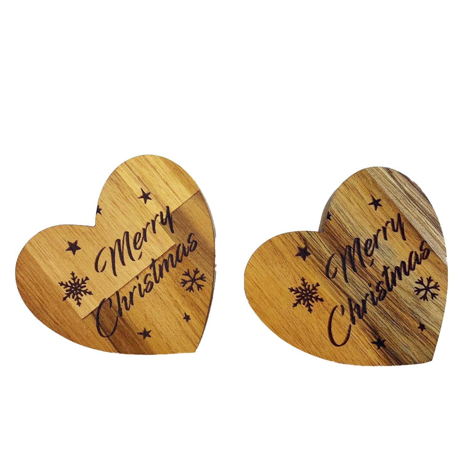 Jogo c/2 Argolas Madeira Teca escrita Merry Christmas, 7 cm