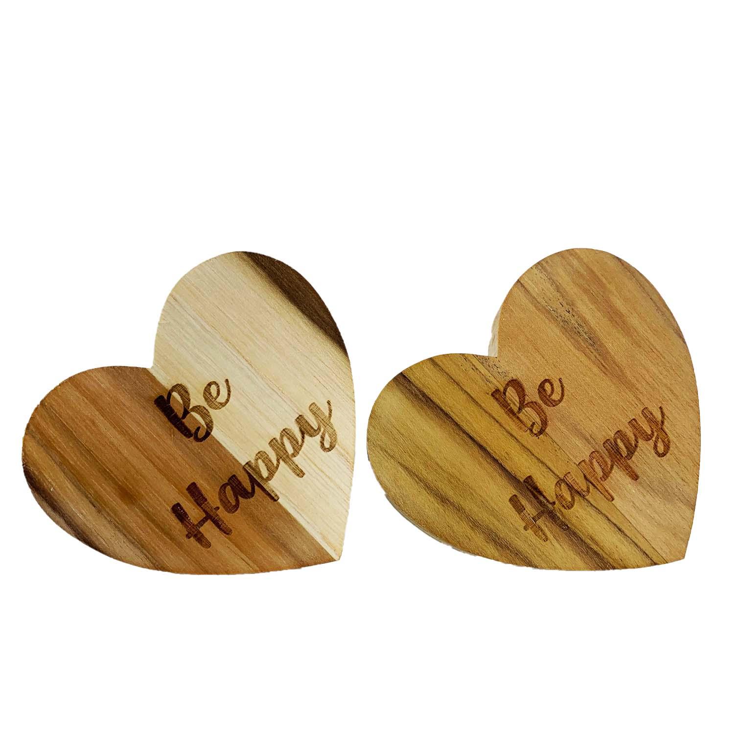 Jogo com 2 Argolas Hearts Madeira Be Happy