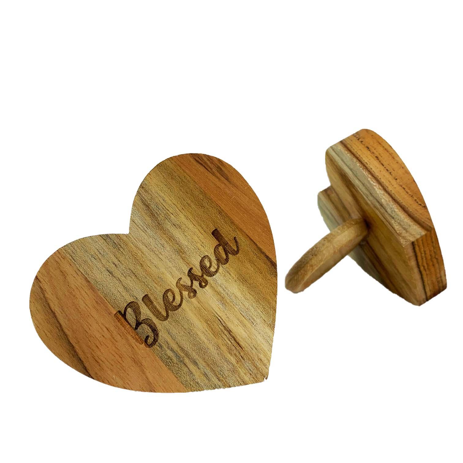 Jogo com 2 Argolas Hearts Madeira Blessed
