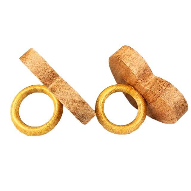 Jogo com 2 Argolas em madeira escrita Bonjour