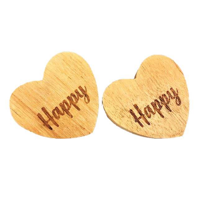 Jogo com 2 Argolas em madeira escrita Happy